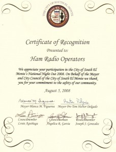 Certificate from the South El Monte City Council