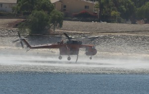Helicopter filling water for Madre Fire